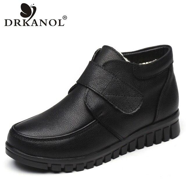 Drkanol moda couro genuíno dedo do pé redondo mulheres botas de neve inverno botas de tornozelo plana sapatos de algodão de pelúcia quente botte femme