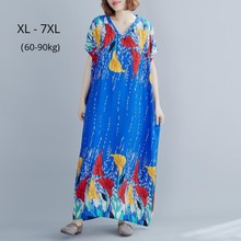 Fashion Women Batwing Sleeves Summer Loose Dress Plus Size 7XL 6XL Femme Robe Boho Style V Neck Print Cotton Blend Maxi Dresses