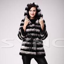 HOT fashion new High Grade Hooded fur coats,Noble Elegant Ladies' rex rabbit fur coats ,Chinchilla style rabbit jacket coat FS02