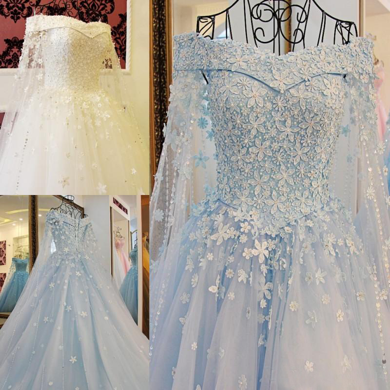 Modest Blue Off The Shoulder Wedding Dresses With Long Capes Beaded Pearls Applique Lace Up Back Bridal Wedding Gowns