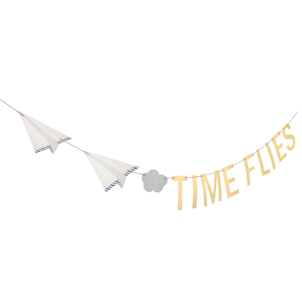 Vintage TIME FLIES Airplane Clouds Party Banner Paper Bunting Garland Airplane First Bir ...
