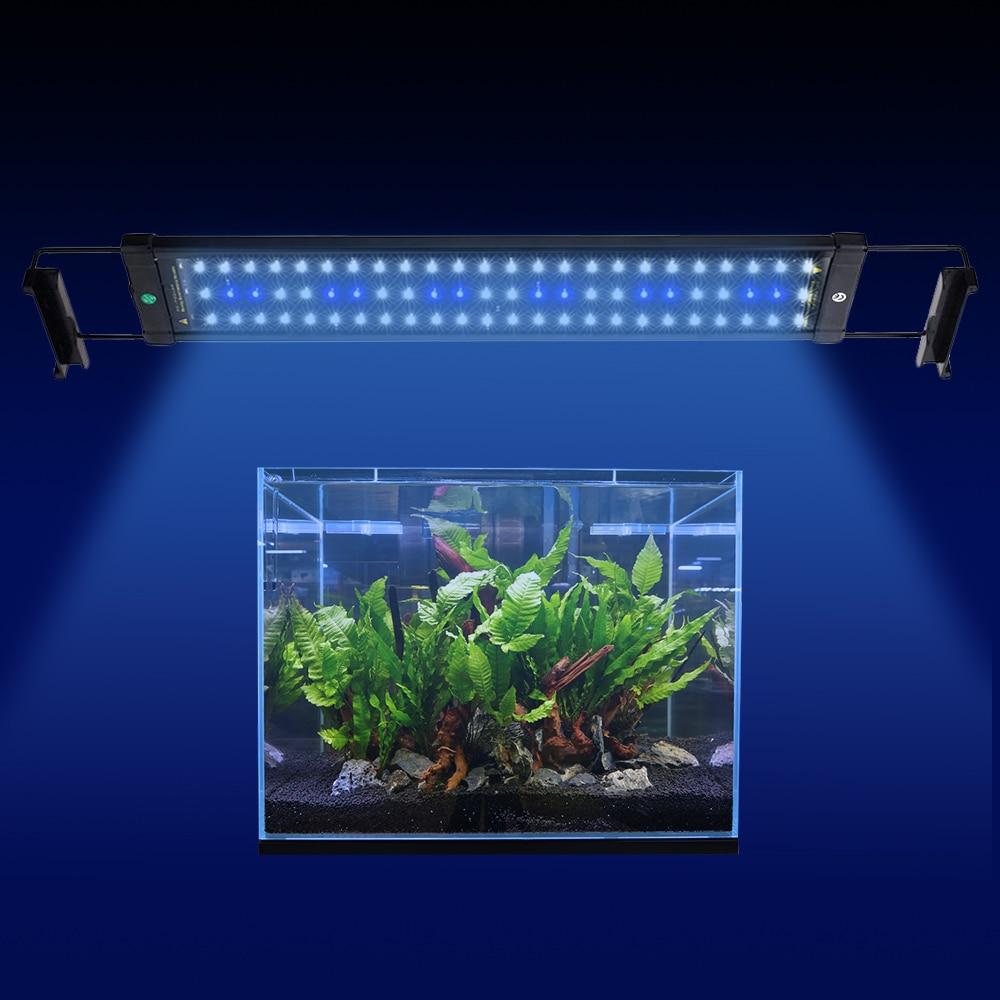 BORUiT 50-70 cm éclairage de LED pour aquarium 15 W 60 blanc et 12 bleu LED lampe de lumière de réservoir de poisson avec supports extensibles