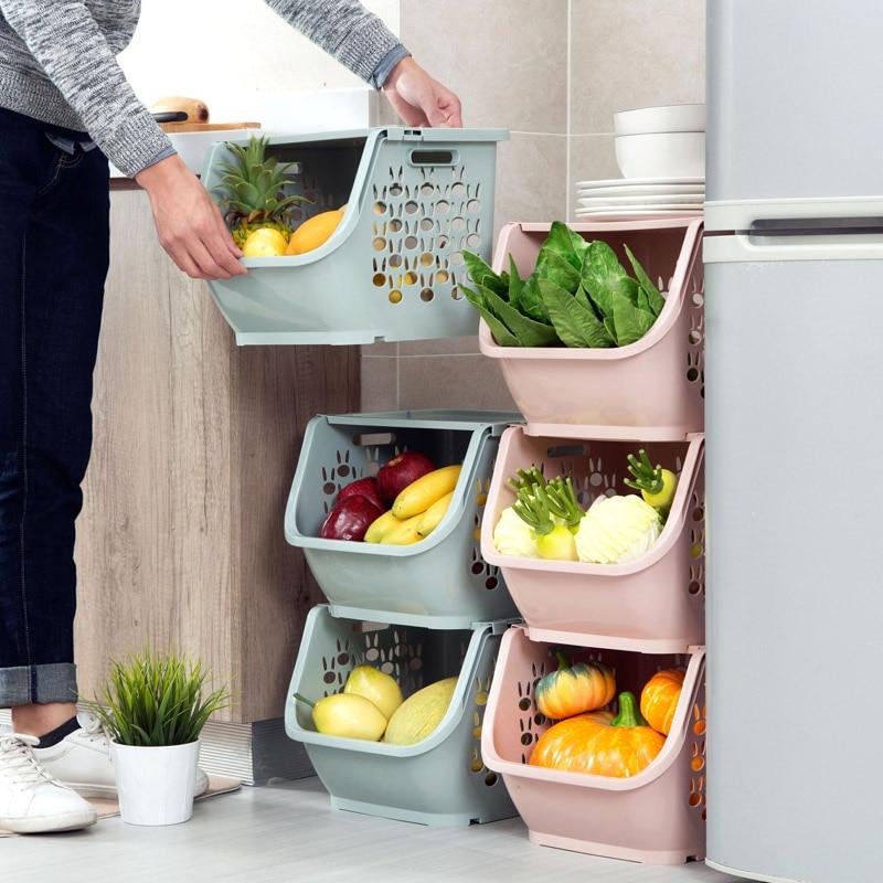 Home Can Stack Storage Baskets Plastic Toys Storage Kitchen Snacks Vegetable Baskets Bathroom Racks