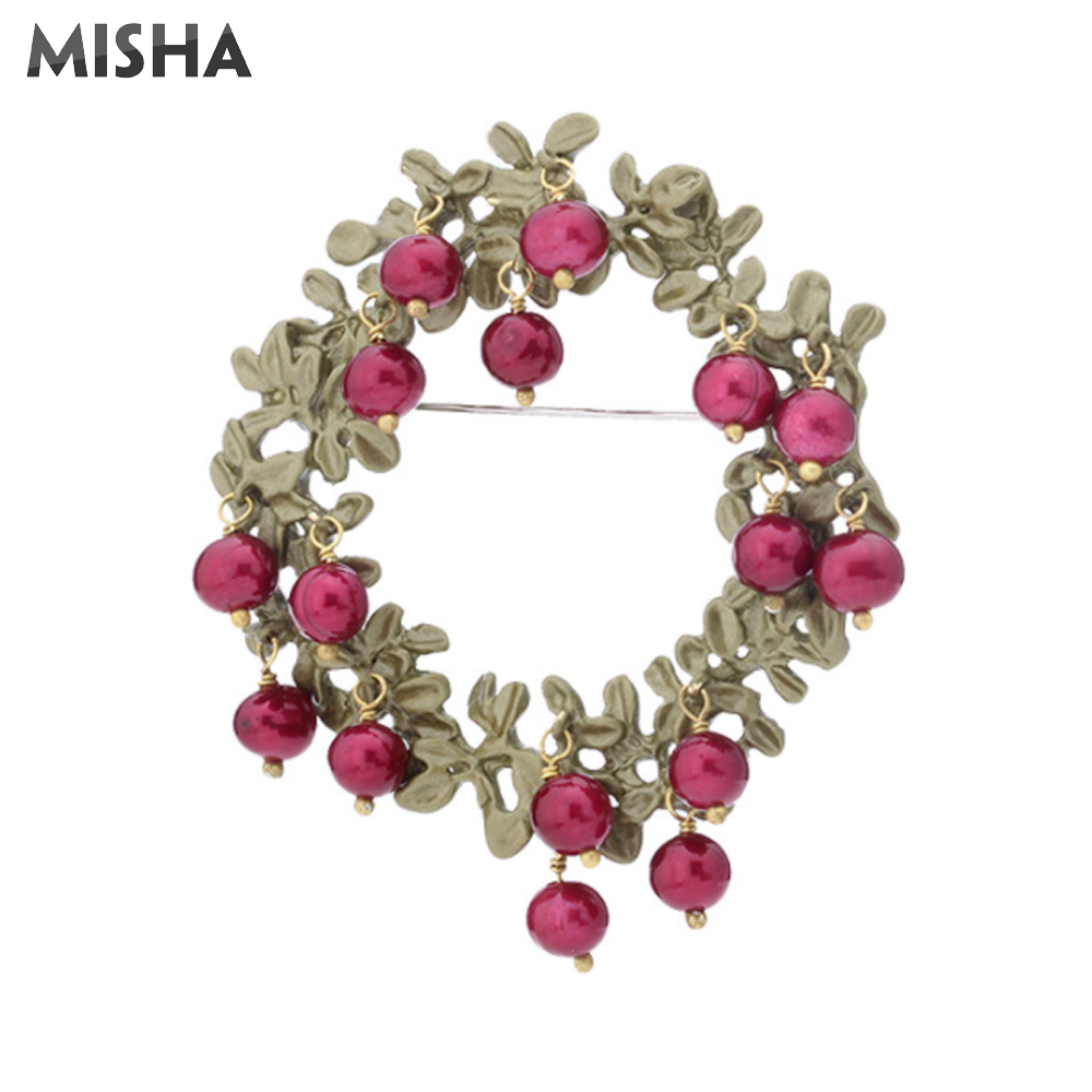 MISHA Red Cranberry Brooch Freshwater Pearl High Quality Jewelry Handmade Luxury Brooch Pins For Women Wedding Gift Bridal 2461