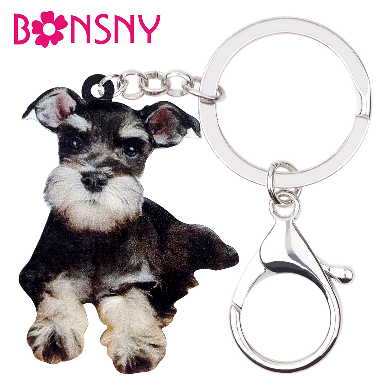 7d3f3dab0e Bonsny Acrylic Anime Schnauzer Dog Key Chain Keychains Rings Holder Novelty  Animal Jewelry For Women Girls