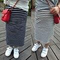 Atacado 2017 New Hot moda menina de algodão listrado preto e branco saia