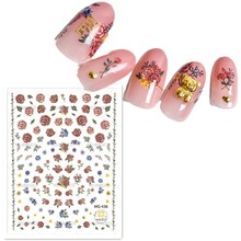 Newest MG-436 florals pattern 3d nail manicure back glue decal decoration design stickers