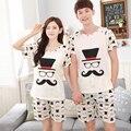 Casal verão Pijama de Algodão Pijamas Para As Mulheres Homens Homme Pijama Salão Sleepwear Nightwear 2 pcs Define T-shirt & Shorts Do Menino calças