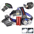 2T6 Headlight 5000 Lumen 2x XM-L T6 LED Linterna Frontal Headlamp Flashlight 18650 Head Torch+Ac Charger&Battery&Usb Cable
