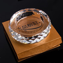 Eco-Friendly Round Ashtray Handmade Small Crystal Cutting Face Ash Tray Holder Cigarette Portable Pocket