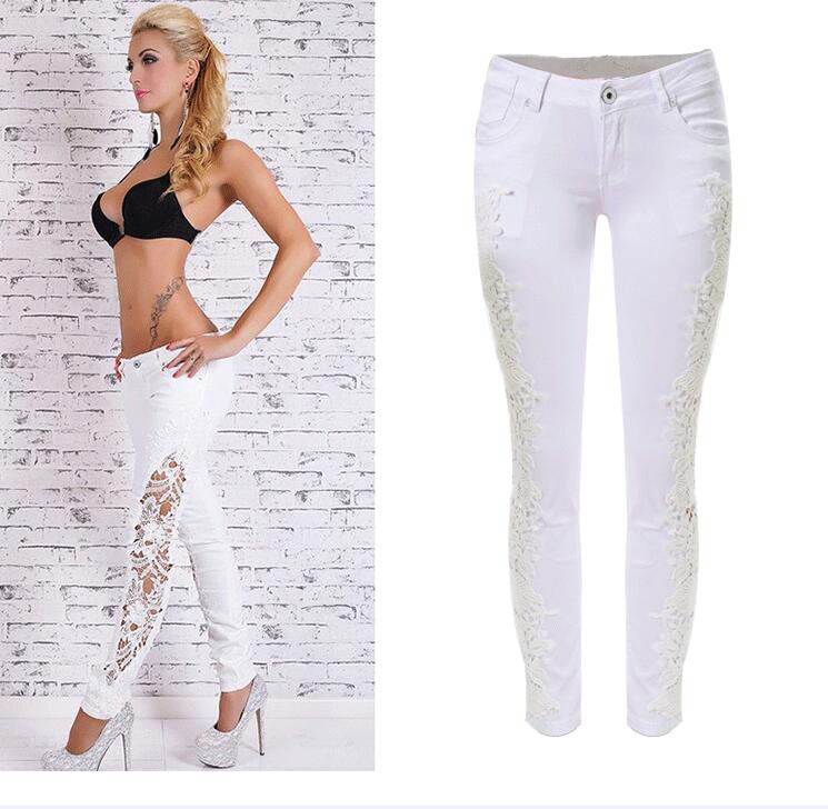 ФОТО High Quality European Street Style Women Flower Lace Side Patchwork  White Jeans Fashionable Hot Girl Low Waist denim trousers