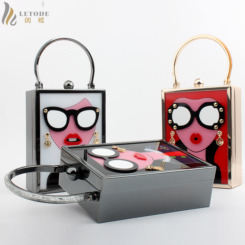 Evening Clutch Bag Metal Acrylic Cartoon Travel Shoulder & Crossbody Handbag Messenger Bags Women Totes Student Wallet Coin Box