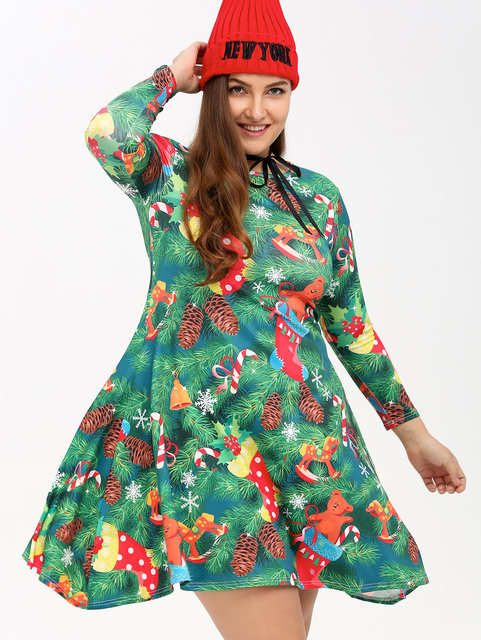 Gamiss Plus Size Christmas Tree Print Party Dress Women Mountains