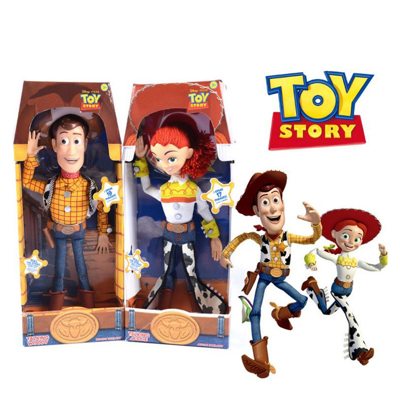 43cm Toy Story 4 Talking Jessie Woody Action Toy Figures Model Toys Plush Doll Children Christmas Gift