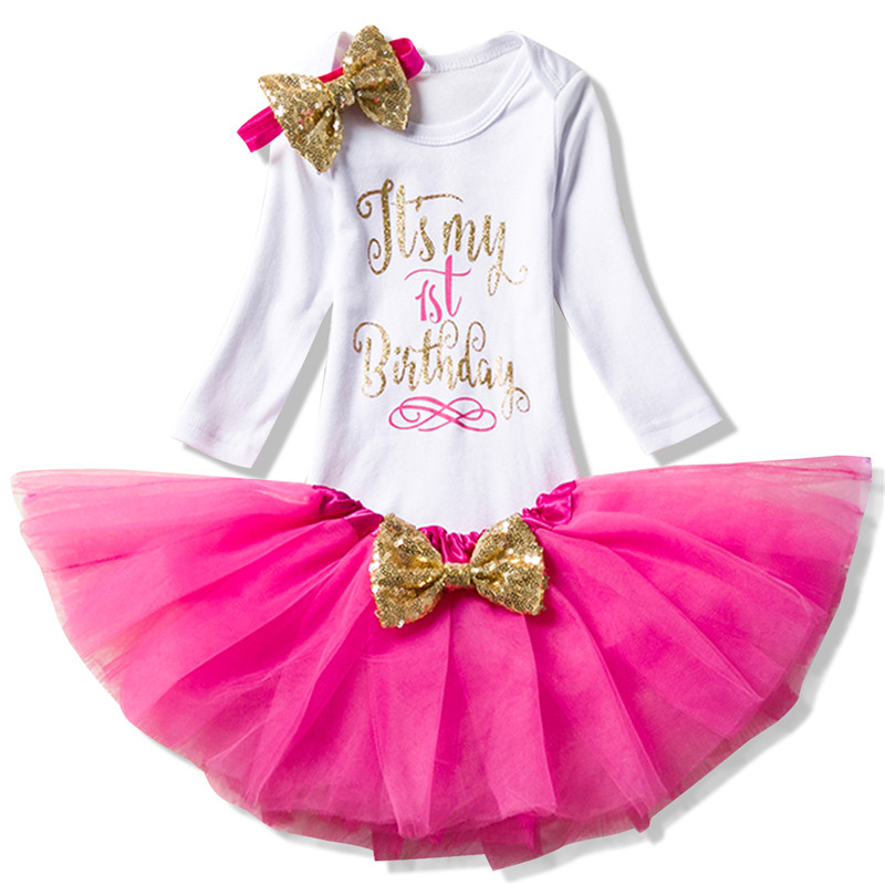 Winter Baby Long Sleeve Clothing Tutu Fluffy Birthday Outfits 1 Year Baby Girl Christening Suit Infant Party Wear for Christmas