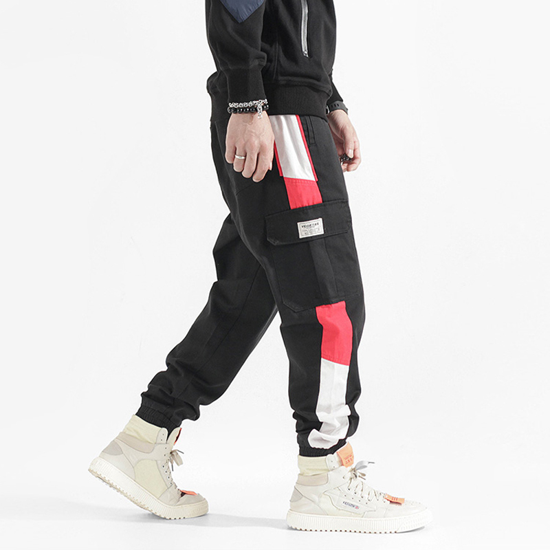 Fashion Streetwear Men Jeans Loose Fit Side Stripe Spliced Big Pocket Cargo Pants Casual Harem Trousers Hip Hop Jogger Pants Men