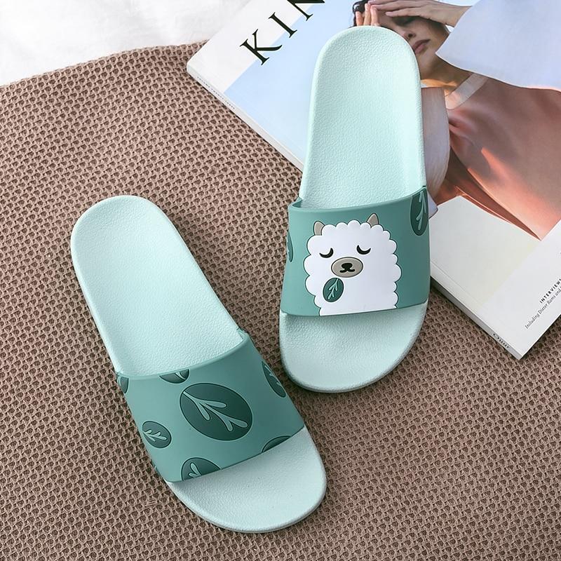 Unisex Cute cartoon alpaca summer women slippers non-slip bathroom beach slides flip flops home men 44