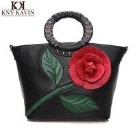 2016 Fashion Flower Design Women Handbag With Round Handle National PU Leather Lady Tote Vintage Luxury