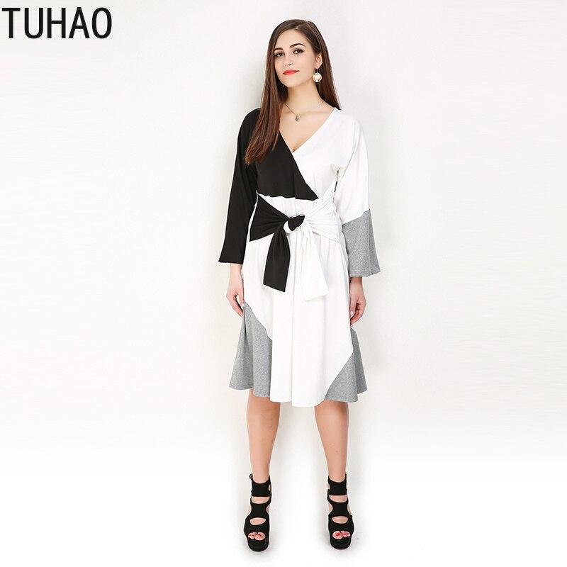 TUHAO grande taille 8XL 7X 6XL robes pour femmes haute rue décontracté femmes printemps à manches longues taille haute Pacthwork robe Vestido RL