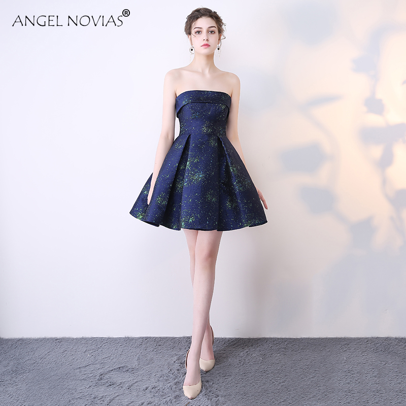 ANGEL NOVIAS Sexy Navy Blue Short Strapless Coctel Robe De Cocktail Dress 2018 Party Prom Gown