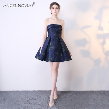ANGEL NOVIAS Sexy Navy Blue Short Strapless Coctel Robe De Cocktail Dress 2020 Party Prom Gown