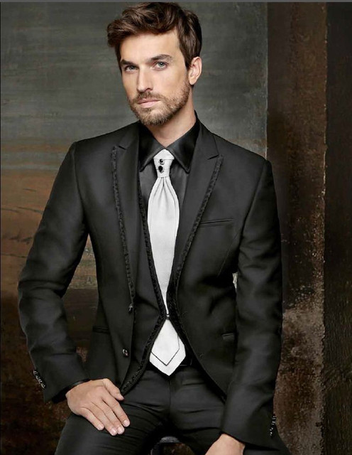 wedding/dinner groom wedding suit for men tuxedo shiny black  2015 custom made groom wear  free shipping