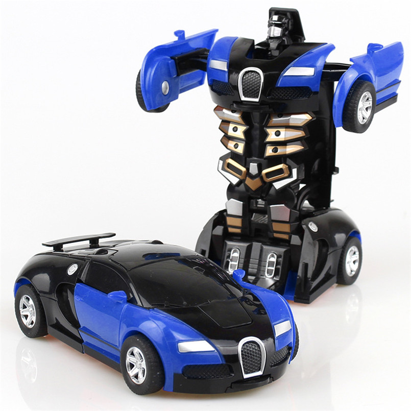 2 IN 1 Deformation Robot Car Model Plastic Mini Transformation Robots Toy For Boys One Step Impact Vehicles Car Children Toys