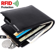 RFID Theft Protect Coin Bag Zipper Men Wallets with Pocket I