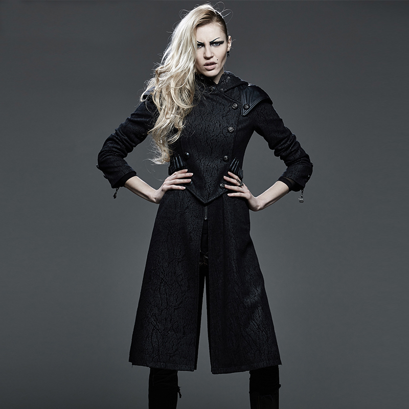 Steampunk Killer Trench Coat for Women Cosplay Style Black