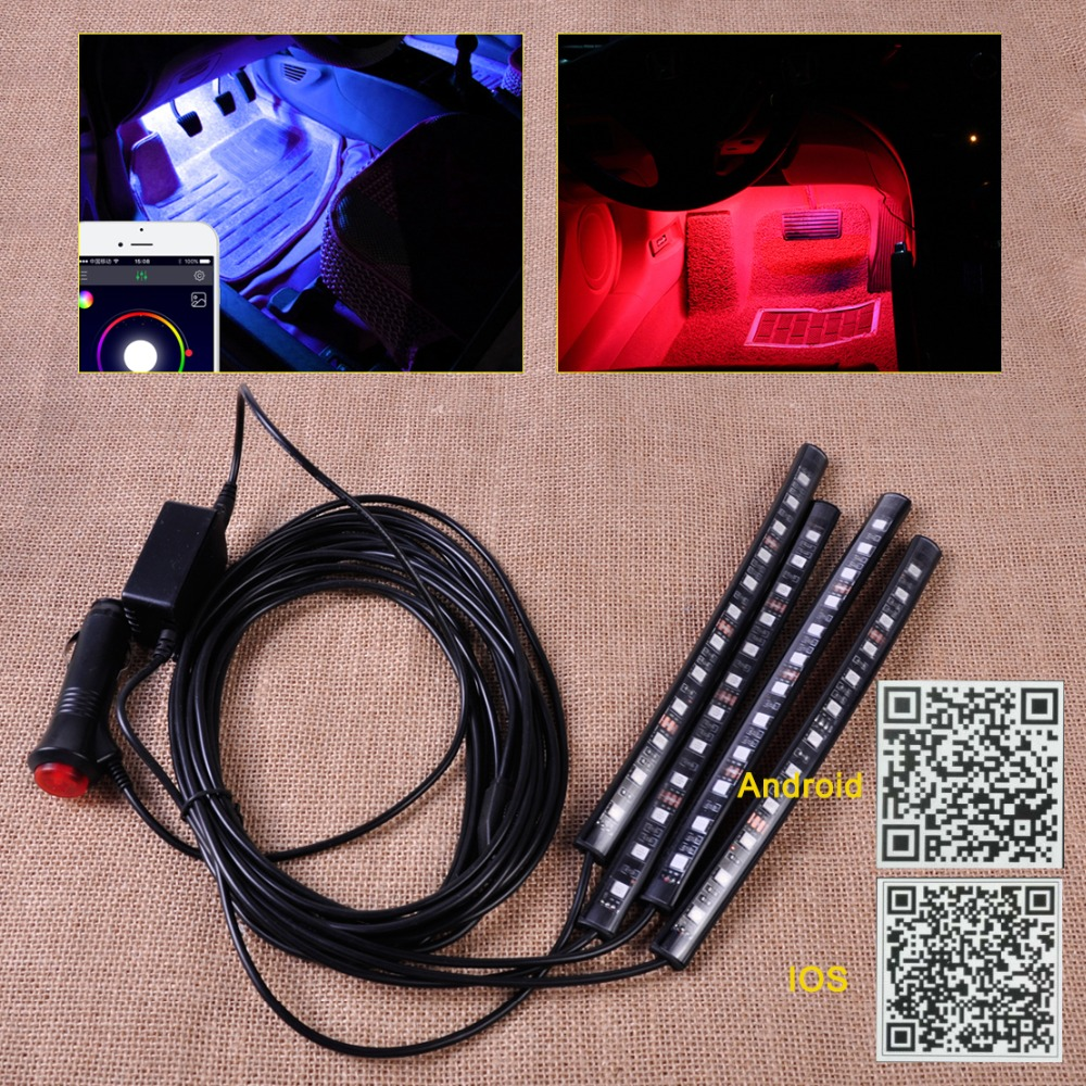 CITALL Car Interior 12 LED Strip Footwell Floor Neon Atmosphere Decoration Lamp Light Strip Music Control fit Android IOS App for mitsubishi outlander lancer 10 9 asx pajero sport l200 colt carisma app control car interior led atmosphere decoration light