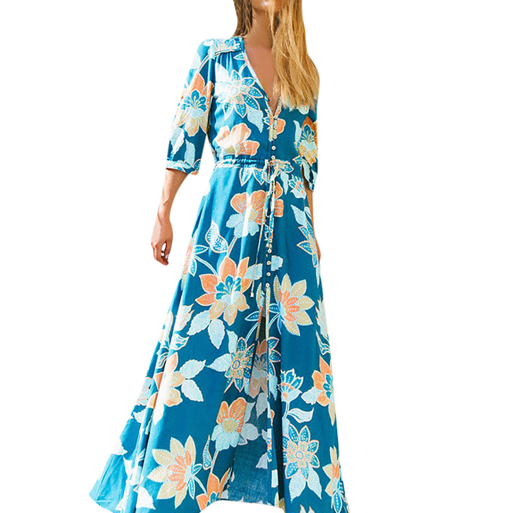 FREE OSTRICH Dress Women  V-neck Leisure Sexy Printed Ankle-Length Bohemian Blue Loose Dignified Noble Novel Long Dress Summer