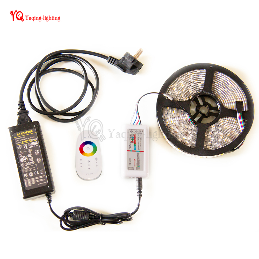 LED strip Kit DC12V Waterproof LED Strip 5050 60LED/m 5M RGB RGBCW RGBWW with 2.4G RF LED Controller & Power adapter EU Plug good group diy kit led display include p8 smd3in1 30pcs led modules 1 pcs rgb led controller 4 pcs led power supply