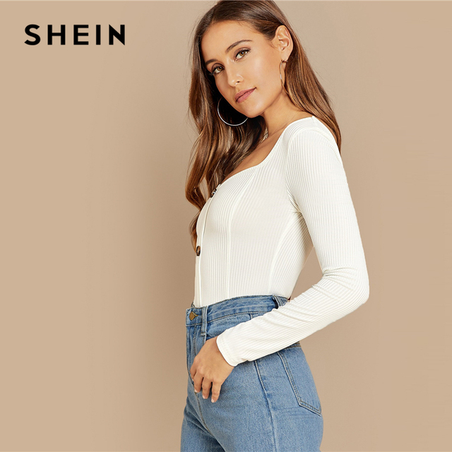 SHEIN White Office Lady Button Front Ribbed Knit  Deep V Neck Pullovers Tee Autumn Modern Lady Workwear Women Tshirt Top 3