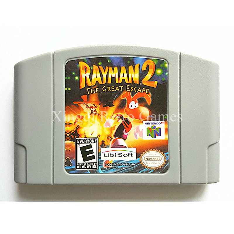 Nintendo N64 Game Rayman 2 The Great Escape Video Game Cartridge Console Card English Language US Version