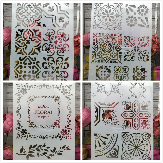 4Pcs/Lot A4 Frame Square Floral DIY Layering Stencils Painting Scrapbook Coloring Embossing Album Decorative Card Template