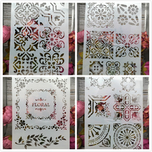 Buy 4Pcs/Lot A4 Frame Square Floral DIY Layering Stencils Painting Scrapbook Coloring Embossing Album Decorative Card Template directly from merchant!