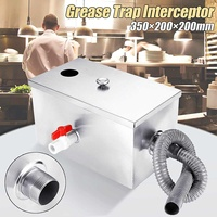 350*200*200mm Stainless Steel 8LB Grease Trap Interceptor Oil Water Separator For Restaurant Kitchen Waste Water Treatment Tools
