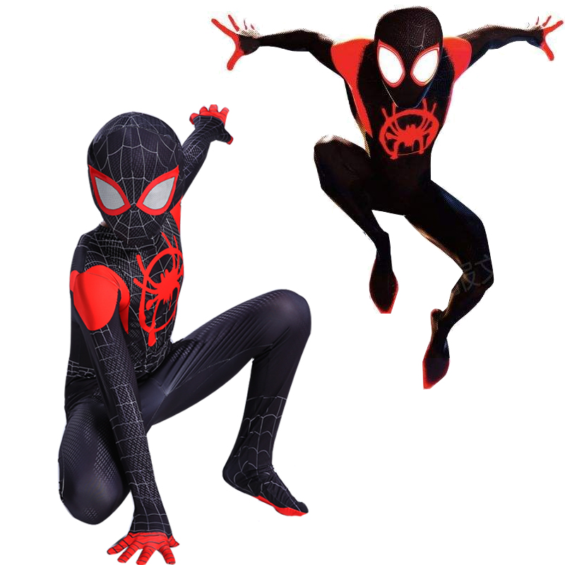 Adult Miles Morales Spiderman 3D Print Costume Kids Boys Spider Man Cosplay Halloween Costume Superhero Zentai Spiderman Suit