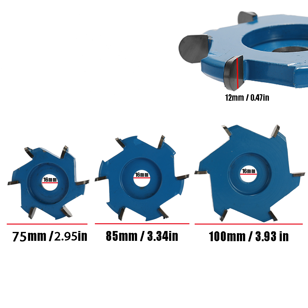 Three Teeth Power Wood Carving Disc Tool Milling Cutter For 16mm Aperture Angle Grinder