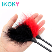 IKOKY 24cm Flirting Feather Black Spanking Whip SM Bondage Erotic Toys Sex Toys