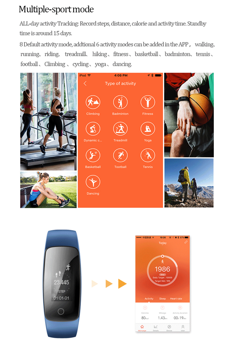 Teamyo Sport Smart Bracelet Activity tracker Cicret bracelet GPS fitness tracker Heart Rate Monitor cardiaco Smart wristband 5