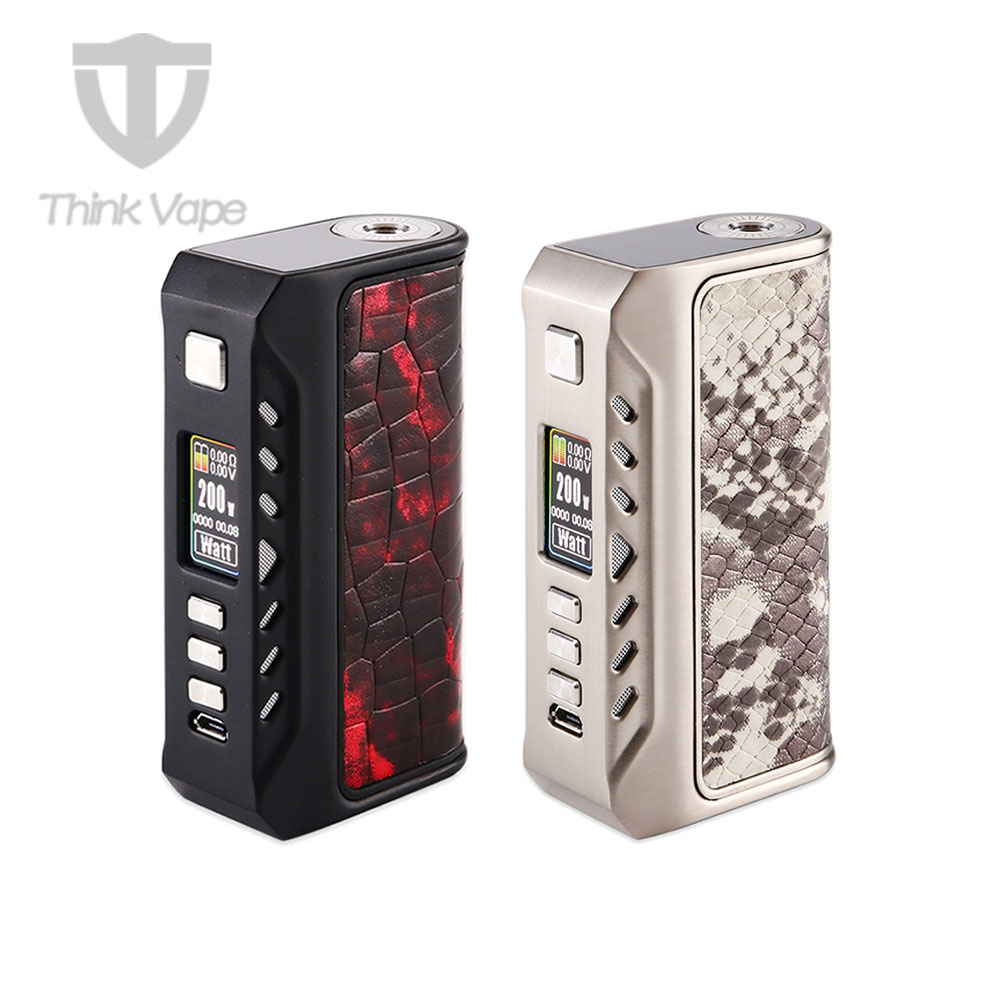ThinkVape Thunder 200W Electronic Cigarette Mod TC Temperature Control VW Box Mod Powered by dual 18650 battery no battery