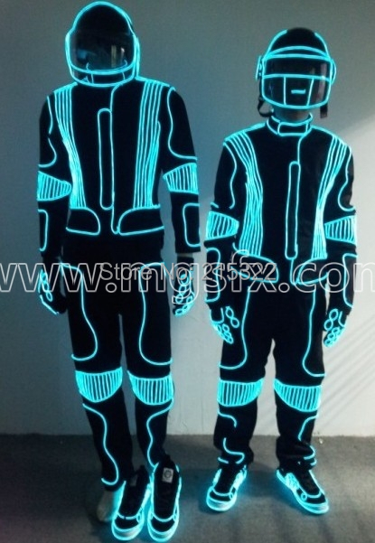Free shipping EL Wire light up dance suit Luminous costume-in ...