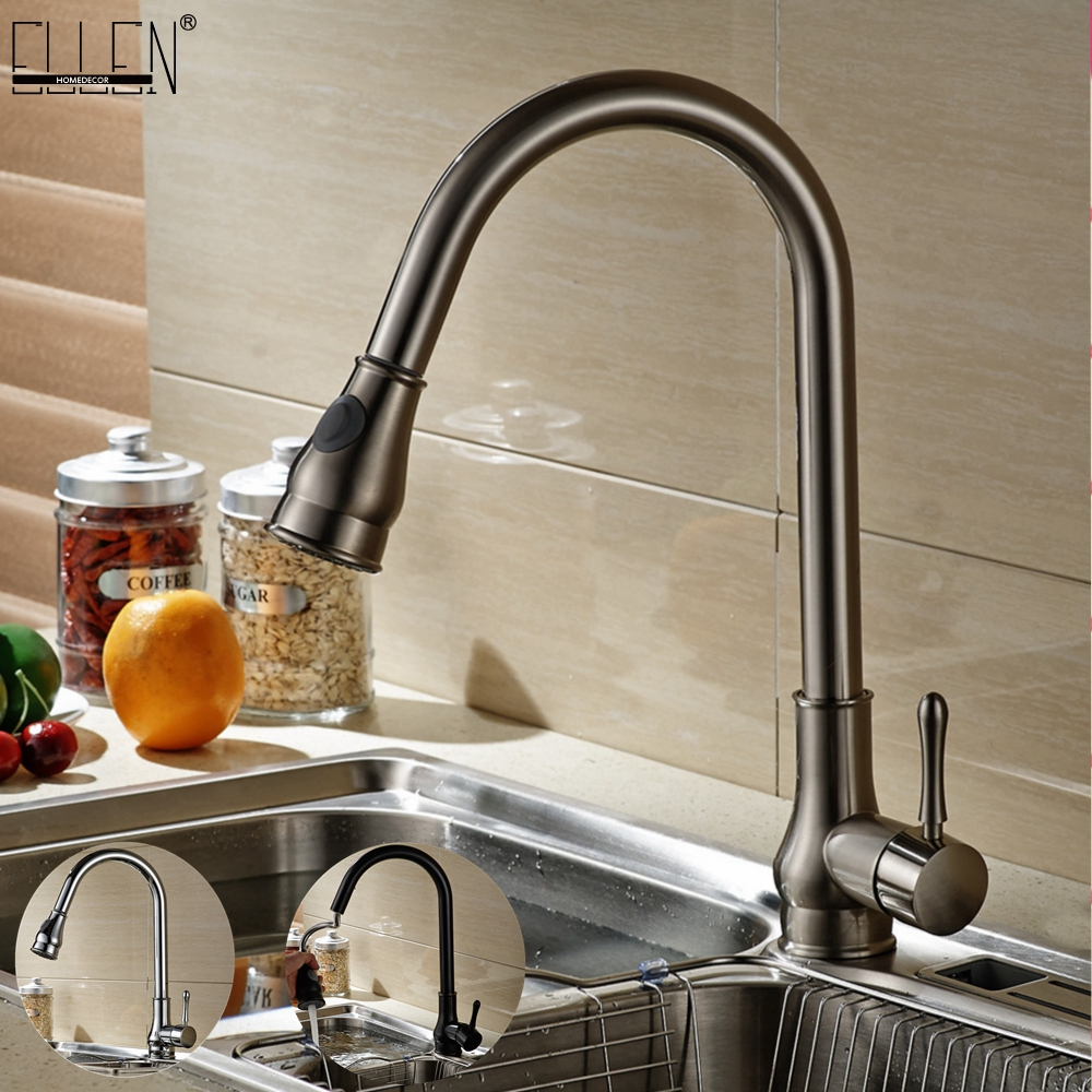Kitchen Sink Faucets Pull Out Deck Mounted Mixer Tap 360 Degree Rotation Mixer Tap Crane For Kitchen pull out kitchen faucets brushed nickel sink mixer tap 360 degree rotatable torneira cozinha mixer taps