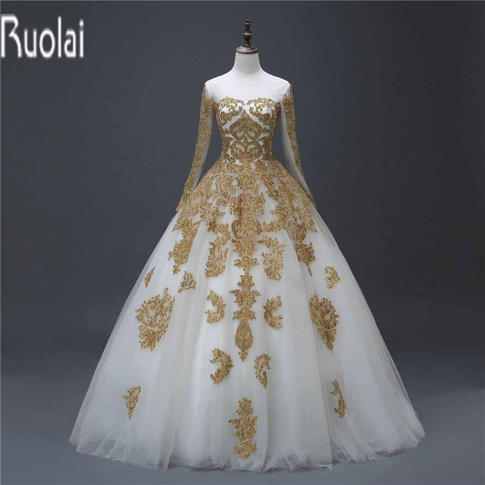 2017 Real Sample New Gold Lace Applique Beading Long Sleeves Tulle Scoop  Zipper Back Wedding Dresses - Online Get Cheap Gold Wedding Dresses -Aliexpress.com Alibaba Group