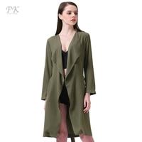 PK Overcoat Green Spring Coat Women British Style Long Coat Belt Turndown Collar Pattern Windbreaker Easy