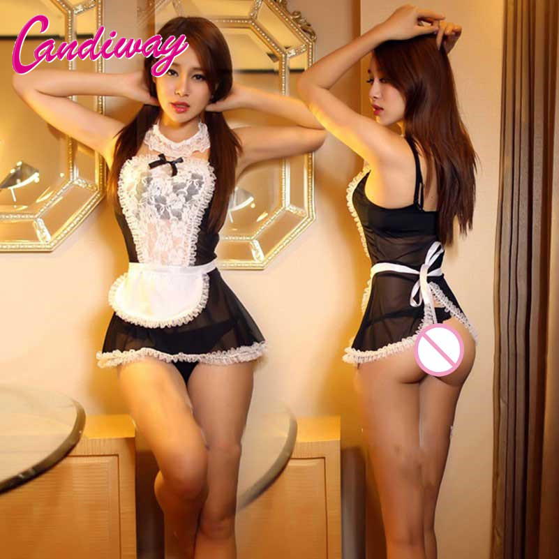 Hot Women Sexy Lingerie Lace Cosplay French Maid Uniform Sexy Costumes Babydolls Erotic Lingerie Lenceria Sexy Porn Underwear(China)