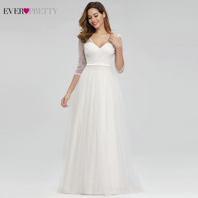 Elegant White Lace Wedding Dresses V-Neck A-Line 3/4 Sleeve Sexy Illusion Formal Bride Dresses Robe De Mariee Tulle Mariage 2020