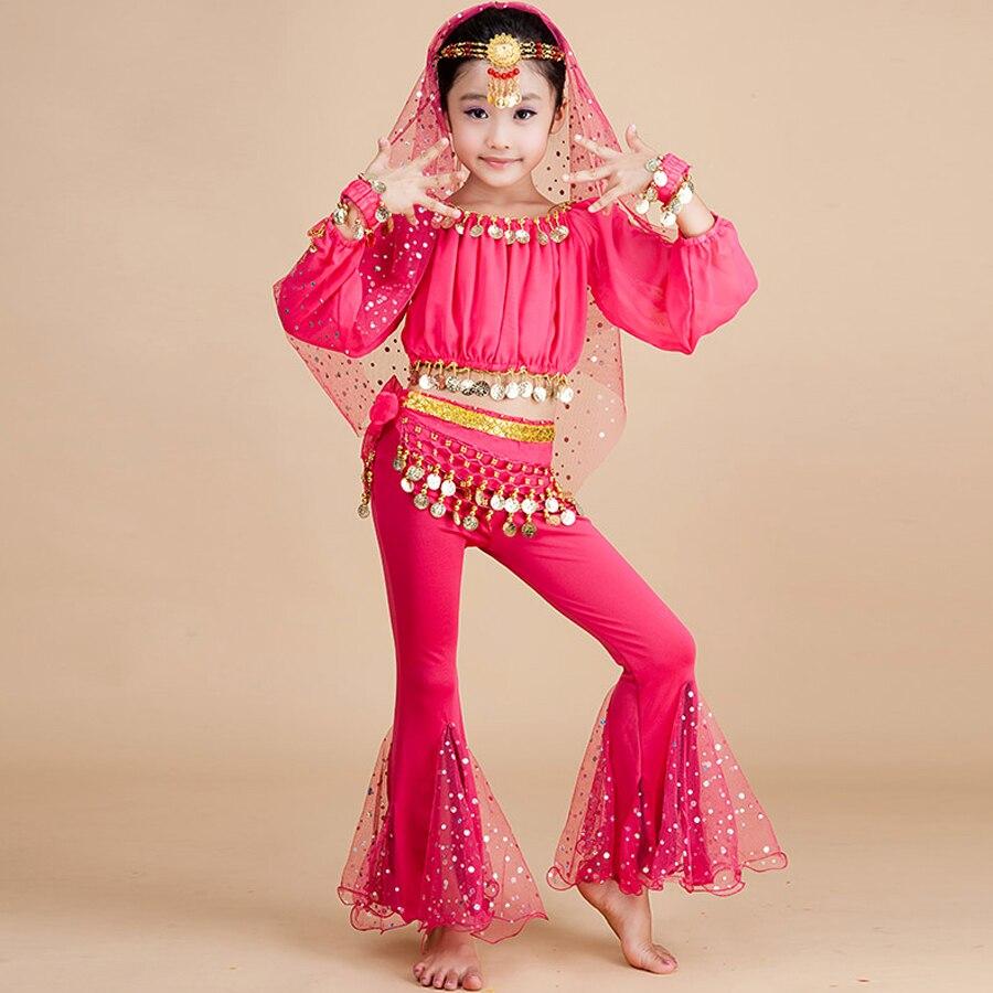2018 nouveau Costume de danse du ventre 6 pièces (haut + pantalon + taille + chaîne de la tête + voile + ses bras) danse du ventre pour les enfants Costume d'egypte 3 couleurs