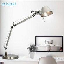 Artpad Lámpara LED de trabajo para escritorio, regalo de negocios, diseño de moda, aluminio E27, Flexible, ajustable, cuidado de los ojos, lámpara de mesa de estudio, Plata
